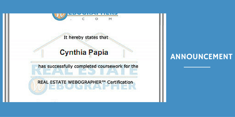 Cynthia Papia Earns Real Estate Webographer Certification