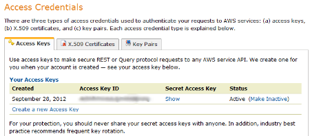 Access S3 Credentials Screenshot
