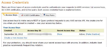 Access S3 Credentials Screenshot