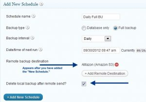 Add New Schedule - BackupBuddy Screenshot