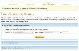 AWS Telephone Verification Screenshot