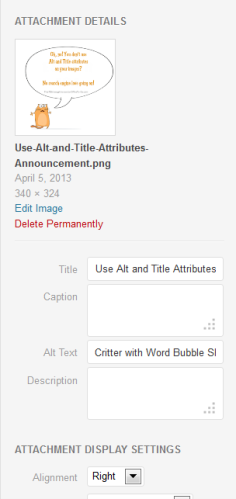 Screenshot of Media Attachment Details in WordPress