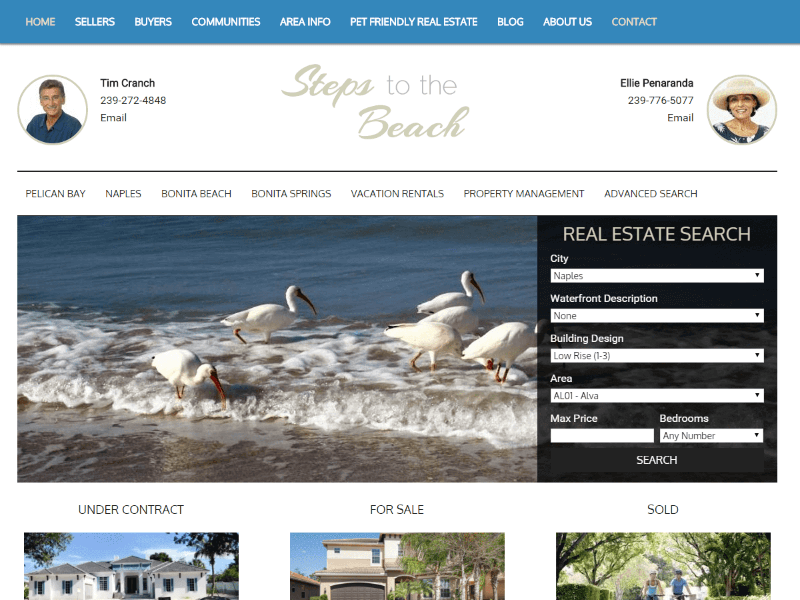 Steps to Beach Naples FL Real Estate Website Snapshot