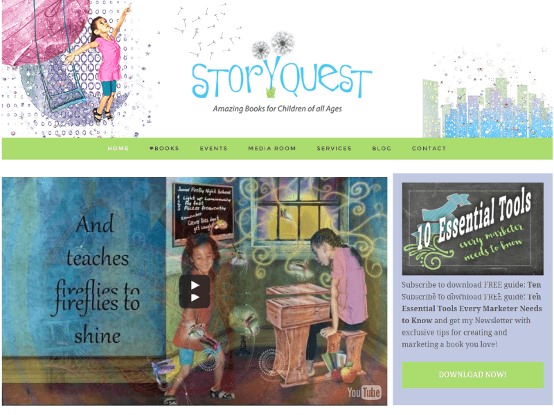 Story Quest Children's Books Website Snapshot